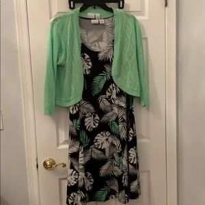 Sundress with  jacket woman's plus 1x green black